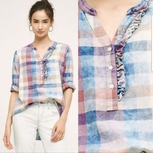 Anthropologie Isabella Sinclair plaid ruffle top